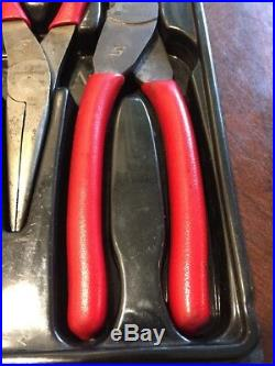 Snap On Tool pliers Set RED Soft Grip Diagonal Cutter Needle Nose Slip Joint USA