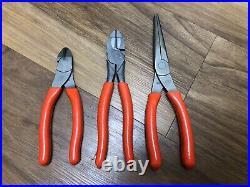 Snap On Tools 3 pcs Plier Cutter Set Orange PN# PLR300O