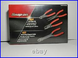 Snap On Tools 3Pc Pliers Set WithHeavy Duty Diagonal Cutter Red PL307ACF312