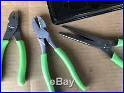Snap-On Tools 3pc Pliers/Cutters Set Green withtray PLR300G