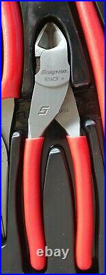 Snap On Tools 4 Pc Slip Joint/ Needle Nose /Side Cutter Pliers Set PL400B Nice