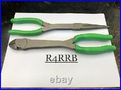Snap-On Tools NEW 2pc GREEN Long Needle Nose Pliers & Diagonal Cutter Lot Set