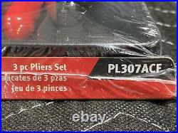 Snap-On Tools PL307ACF 3pc Pliers Set Red Handle Slip Joint Needle Nose Cutters
