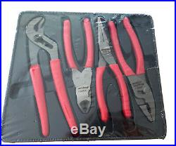 Snap-On Tools USA NEW 4 Piece RED Soft Grip Assorted Plier Cutter PAKPD320
