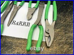 Snap-On Tools USA NEW 6pc GREEN Slip Joint, Needle Nose & Cutter Pliers Lot Set