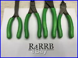 Snap-On Tools USA NOS New Style 4pc GREEN Vinyl Grip Plier Cutter Lot Set