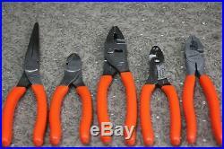 Snap-on Pl500gs Plier Cutter Crimper 5-piece Tool Set Orange Pl500gso