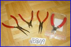 Snap-on Tools 4 Piece Assorted Plier Set 3 Used 1 New Cutters
