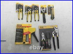 Stanley Mixed Tool Lot Of 9 3 Plier Set Staple Gun Box Cutter End Cut Pliers x 3