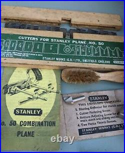 Stanley No 50 Combination Plough Plane Full Set of Cutters Box & Instructions