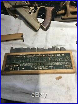 Stanley no 55 universal plane tool, with 4 cutter sets, booklet, antique planer