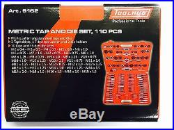 Tool Hub 9162 Tap and Die Metric Set 110 Pc Engineers Kit Screw Bolt Cutter Case