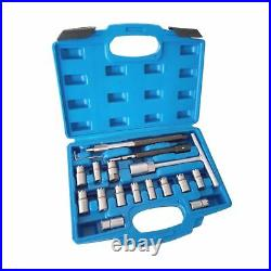 Universal Injector Seat Cutter Kit for Diesel Car Set Tool 17pc Clean Injectors