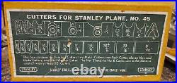 VINTAGE STANLEY No. 45 WOOD PLANE COMPLETE SET WITH 22+2 CUTTERS NICE