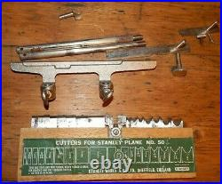 VINTAGE STANLEY no 50 COMBINATION PLOUGH PLANE with CUTTERS BLADE SET