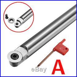 Wood Turning Tool Insert Cutter Round Shank Handle + 10X Blades & Wrench Set C#